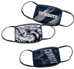 Dallas Cowboys Youth Face Coverings (Pack of 3)