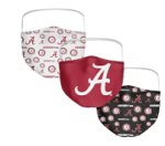 Alabama Crimson Tide All-Over Logo Face Covering (Adult Size) (Pack of 3)