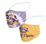 LSU Tigers Tie-Dye & Floral Face Covering (Adult Size) (Pack of 2)