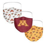 Minnesota Gophers Women's Face Coverings (Pack of 3)