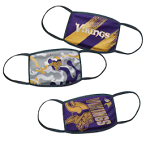 Minnesota Vikings Youth Face Coverings (Pack of 3)