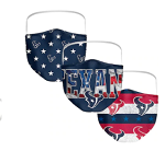 Houston Texans Patriotic Face Covering (Adult Size) (Pack of 3)