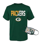 Green Bay Packers Youth T-Shirt & Face Covering Combo Set