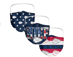 Kansas City Chiefs Patriotic Face Covering (Adult Size) (Pack of 3)