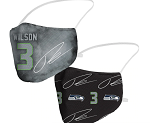 Russell Wilson Name & Seahawks Logo Face Covering (Adult Size)(Pack of 2)