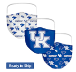Kentucky Wildcats All-Over Logo Face Covering (Adult Size) (Pack of 3)