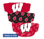 Wisconsin Badgers Face Covering (Adult Size) (Pack of 3)