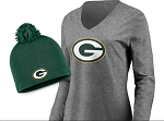 Green Bay Packers Women's Long Sleeve T-Shirt & Knit Beanie Combo