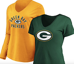 Green Bay Packers Women's V-Neck T-Shirt Combo - Green/Gold