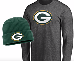 Green Bay Packers Long Sleeve T-Shirt & Cuffed Knit Hat Combo Set - Heathered Gray/Green