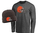 Cleveland Browns Long Sleeve T-Shirt & Cuffed Knit Hat