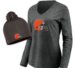 Cleveland Browns Women's Long Sleeve T-Shirt & Knit Beanie Combo