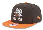 Cleveland Browns New Era Historic Logo Adjustable Hat - Brown/Orange