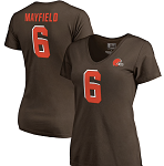 Baker Mayfield Cleveland Browns Women's Authentic Stack Name & Number T-Shirt - Brown