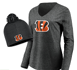 Cincinnati Bengals Women's Long Sleeve T-Shirt & Knit Beanie Combo