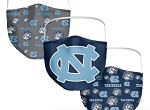 North Carolina Tar Heels All-Over Logo Face Coverings (Adult Size)(Pack of 3)