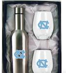North Carolina Tar Heels Stainless Steel Bottle with Stemless Glass Tumblers Gift Set