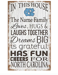 North Carolina Tar Heels Personalized In This House Sign (11