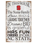 NC State Wolfpack Personalized In This House Sign (11