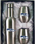 Seattle Seahawks Stainless Steel Bottle with Stemless Stainless Steel Tumblers Gift Set