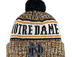 Notre Dame Fighting Irish Team Logo Knit Hat with Pom - Navy