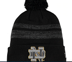 Notre Dame Fighting Irish Team Logo Knit Hat with Pom - Black/Grey