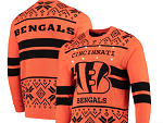 Cincinnati Bengals Light Up Ugly Sweater - Orange/Black
