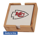 Kansas City Chiefs Coaster Set with Caddy (4 pack)
