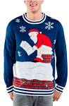 Men's Santa's Log on the Fire Ugly Christmas Sweater