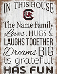 South Carolina Gamecocks Personalized  'In This House' Sign (11