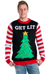 Men's Get Lit Light Up Ugly Christmas Sweater