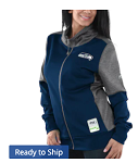 Seattle Seahawks Majestic Women's Speed Fly Lightweight Full-Zip Fleece Jacket - Navy