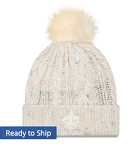 New Orleans Saints Cuffed Knit Cap w/Pom (Cream)