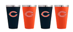 Chicago Bears Matte Color Stainless Steel Pint Glass Set (4 pack)