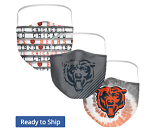 Chicago Bears All-Over Logo Face Coverings (Adult Size)(Pack of 3)