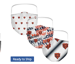 Chicago Bears Women's Face Coverings (Adult Size)(Pack of 3)