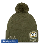 Green Bay Packers Salute to Service Knit Cap w/Pom (Olive)