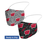 Wisconsin Badgers Camo Face Coverings (Adult Size)(Pack of 2)