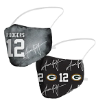 Aaron Rodgers Name & Packers Logo Face Covering (Adult Size)(Pack of 2)