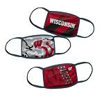 Wisconsin Badgers Youth Face Coverings (Pack of 3)