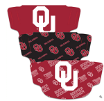 Oklahoma Sooners Face Coverings (Adult Size) (Pack of 3)