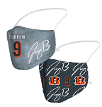 Joe Burrow Name & Bengals Logo Face Covering (Adult Size)(Pack of 2)