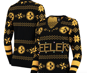 Pittsburgh Steelers Women's Light-Up V-Neck Ugly Sweater