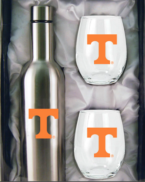 Tennessee Volunteers Stainless Steel Bottle with Stemless Glass Tumblers Gift Set