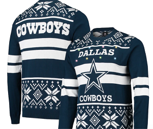 Dallas Cowboys Light Up Ugly Sweater - Navy/Silver