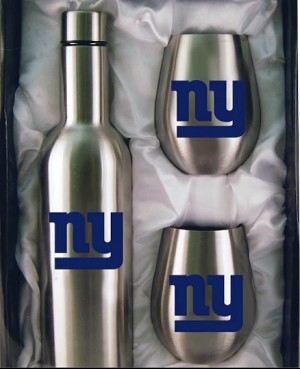 New York Giants Stainless Steel Bottle with Stemless Stainless Steel Tumblers Gift Set