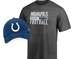 Indianapolis Colts T-Shirt & Adjustable Hat Combo Set - Heathered Gray/Blue