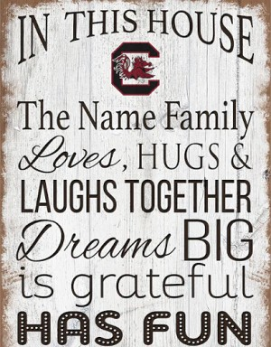 "South Carolina Gamecocks Personalized  'In This House' Sign (11"" x 19"")"